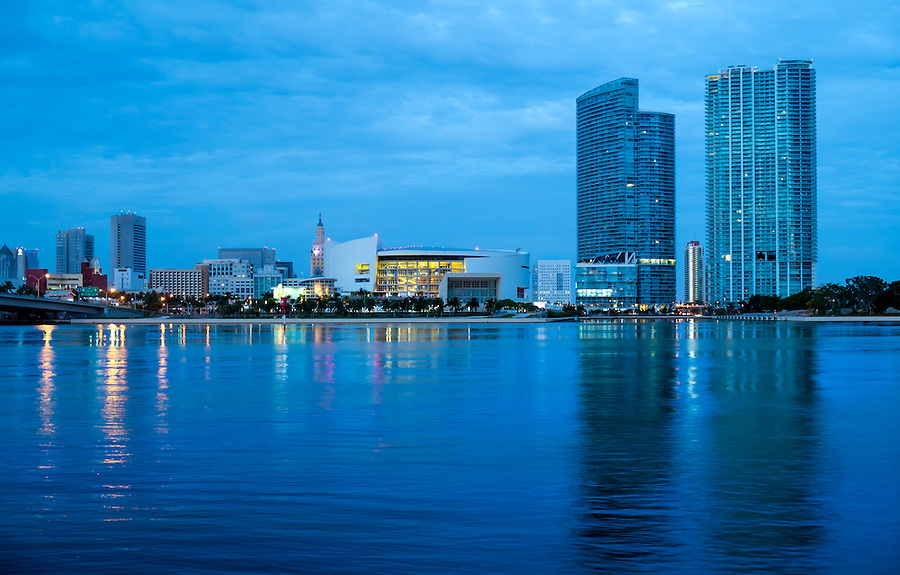 View of the Miami Skyline and American Airlines Arena from Biscayne Bay.