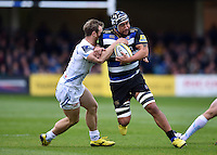 Leroy Houston of Bath Rugby takes on the Exeter Chiefs defence. Aviva Premiership match, between Bath Rugby and Exeter Chiefs on October 17, 2015 at the Recreation Ground in Bath, England. Photo by: Patrick Khachfe / Onside Images