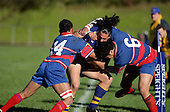 Alan Poa is taken out over the sideline by Alesio Petelo & Robie Afoa-Peterson. McNamara Cup final - Premier 1 Championship, Patumahoe v Ardmore Marist. Patumahoe won 13 - 6. Counties Manukau club rugby finals played at Growers Stadium, Pukekohe, 24th of June 2006.