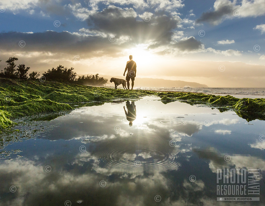 A man walks with his dog along a rocky seashore at sunset, Pua'ena Point, North Shore, O'ahu.