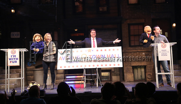 "The cast of ""Avenue Q"" Hosts Town Hall With A Debate Between Puppets Hillary Clinton, ""I'm with Fur"" played by Maggie Lakis, moderator Nick Kohn & Donald Trump, ""Make Puppets Great Again"" played by Rob McClure at the New World Stages on September 26, 2016 in New York City."