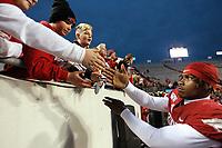 Arkansas Democrat-Gazette/THOMAS METTHE -- 11/29/2019 --<br /> Arkansas defensive back Joe Foucha (7) shakes hands with fans after the Razorbacks' 24-14 loss to Missouri on Friday, Nov. 29, 2019, at War Memorial Stadium in Little Rock.