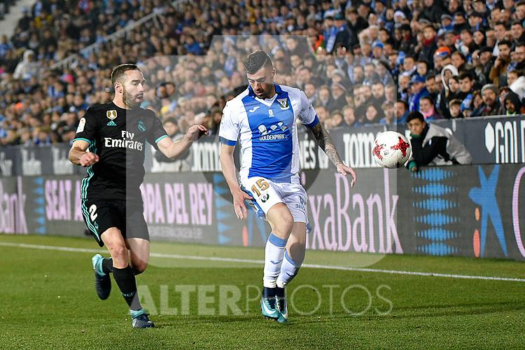 Leganes Diego Rico vs Real Madrid Daniel Carvajal during Copa del Rey  match. A quarter of final go. 20180118.
