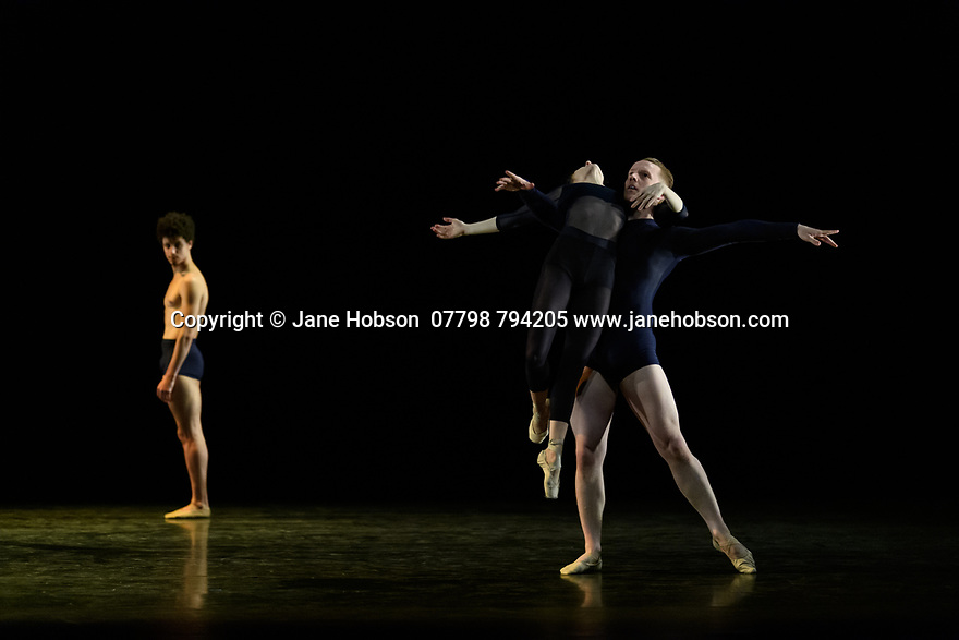 "Alina Cojocaru, lead principal dancer with Sadler's Wells Associate Company, English National Ballet, and resident guest artist with Hamburg Ballet, curates and performs in a new programme of classical and contemporary works, at Sadler's Wells. The piece shown is ""Journey"", choreographed by Juliano Nunes. the dancers are: Alina Cojocaru, Juliano Nunes (bare-chested), Dominic Harrison"