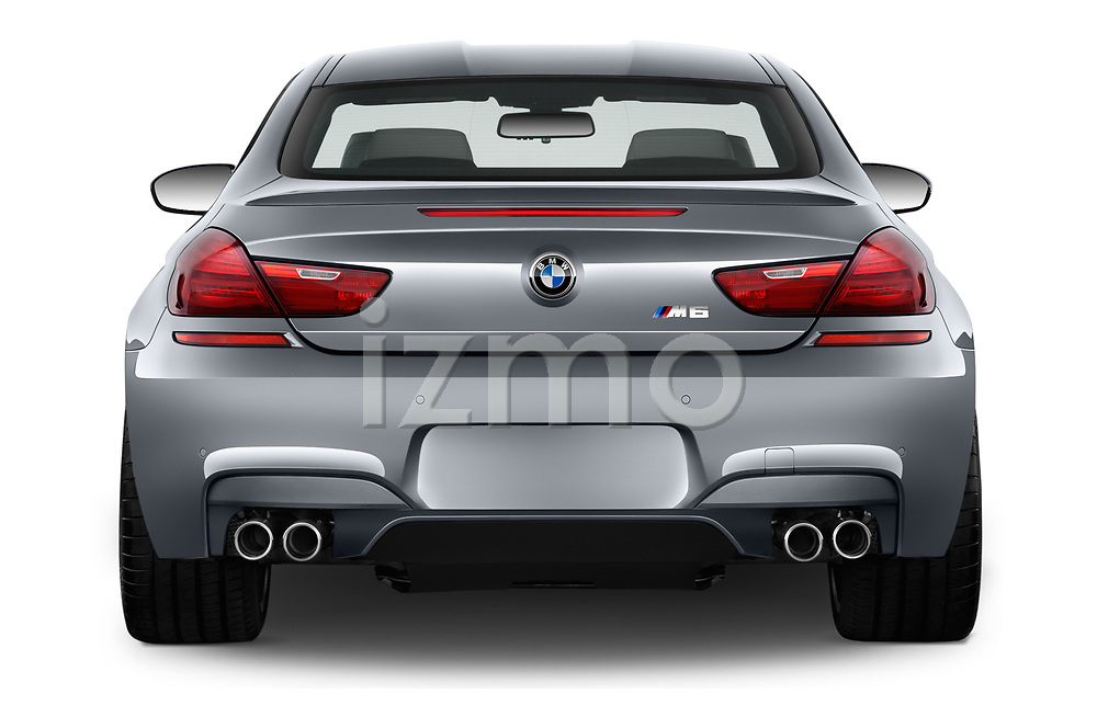 Straight rear view of 2017 BMW M6 - 2 Door Coupe Rear View  stock images