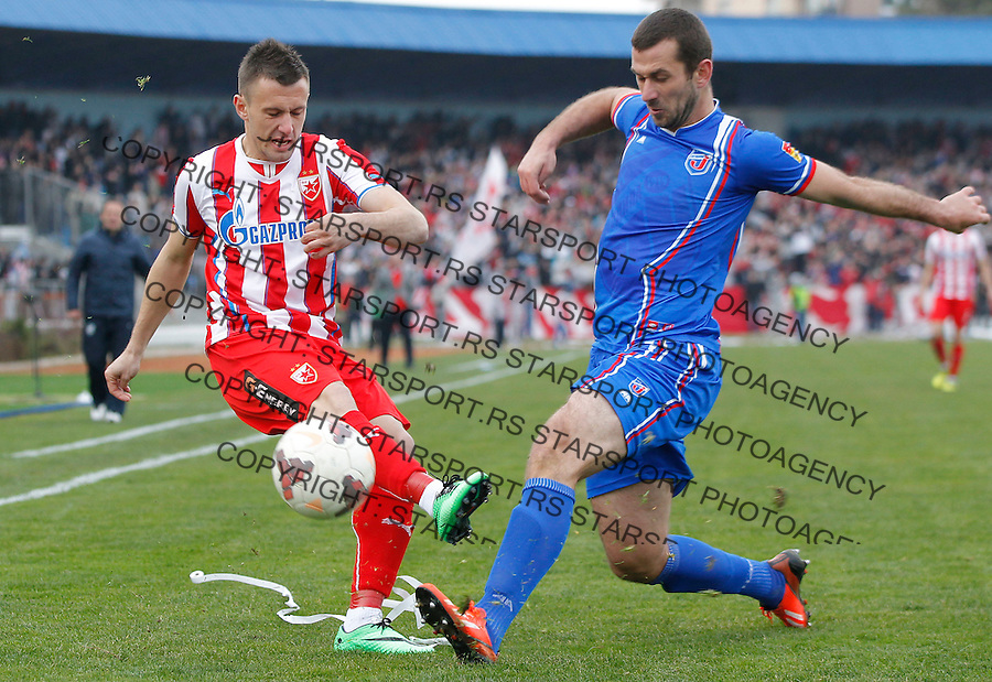 Fudbal Super liga season 2013-2014<br /> Jagodina v Crvena Zvezda<br /> Filip Kasalica (L) and Danijel Mihajlovic<br /> Jagodina, 03.01.2014<br /> foto: Srdjan Stevanovic/Starsportphoto&copy;