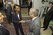 United States Secretary of Defense Donald H. Rumsfeld greets US Secretary of State Condoleezza Rice in Baghdad, Iraq, on April 26, 2006.  Rumsfeld and Rice made an unannounced visit to Iraq to meet jointly with Iraq's newly designated Prime Minister Jawad al-Maliki to show support for the continuing process of building a new Iraqi government.  Rumsfeld earlier met with Commanding General, Multi-National Force Iraq Gen. George Casey Jr. <br /> Mandatory Credit: Chad J. McNeeley / DoD via CNP