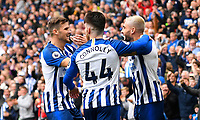 Neal Maupay of Brighton and Hove Albion right celebrates after scoring the first goal during Brighton & Hove Albion vs Tottenham Hotspur, Premier League Football at the American Express Community Stadium on 5th October 2019