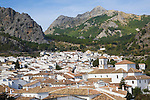 Limestone mountain peaks tower over the Village of Grazalema, Cadiz province, Spain