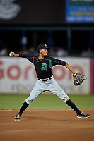 Dayton Dragons shortstop Miguel Hernandez (13) throws to first base during a Midwest League game against the Kane County Cougars on July 20, 2019 at Northwestern Medicine Field in Geneva, Illinois.  Dayton defeated Kane County 1-0.  (Mike Janes/Four Seam Images)