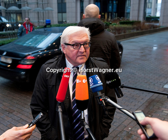 Brussels-Belgium - January 20, 2014 -- Meeting of the EU-Council on Foreign Affairs; here, 'doorstep'-briefing of the press upon arrival by Frank-Walter STEINMEIER, Minister for Foreign Affairs of Germany -- Photo: © HorstWagner.eu