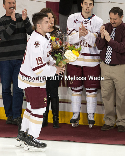 Scott Savage (BC - 2), Jane Gaudreau, Ryan Fitzgerald (BC - 19), Matthew Gaudreau (BC - 21), Guy Gaudreau - The visiting University of Vermont Catamounts tied the Boston College Eagles 2-2 on Saturday, February 18, 2017, Boston College's senior night at Kelley Rink in Conte Forum in Chestnut Hill, Massachusetts.Vermont and BC tied 2-2 on Saturday, February 18, 2017, Boston College's senior night at Kelley Rink in Conte Forum in Chestnut Hill, Massachusetts.