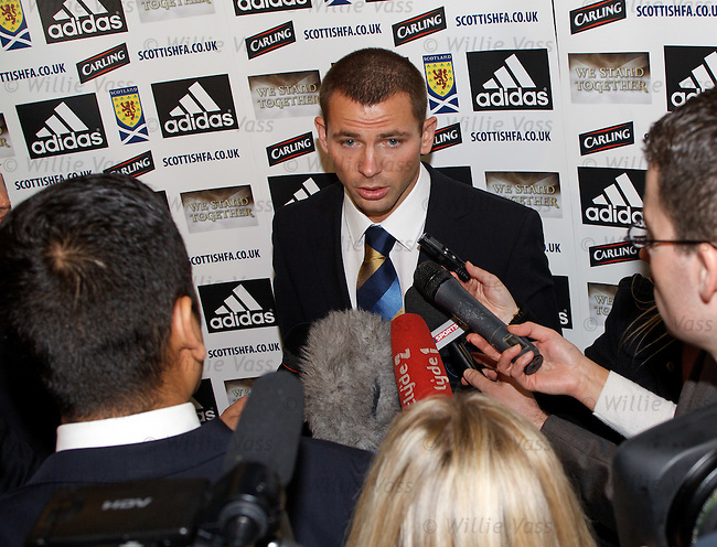 New Scotland call-up Phil Bardsley joins up with the squad at Glasgow Airport to go to Prague