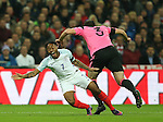 Raheem Sterling of England claims for a penalty are ignored following a clash with Lee Wallace of Scotland during the FIFA World Cup Qualifying Group F match at Wembley Stadium, London. Picture date: November 11th, 2016. Pic David Klein/Sportimage