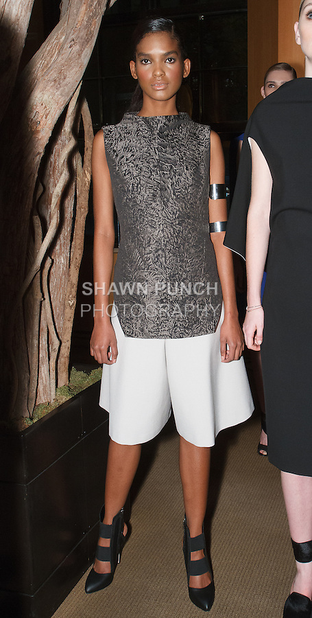 Models pose in an outfits from the Vassa & Co. Pre-Fall 2014 The Black Square collection by Vassa, at The Four Seasons Hotel in New York City, November 19, 2013.