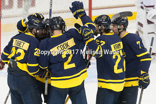 Mathieu Tibbet (Merrimack - 22), Michael Babcock (Merrimack - 19), Ryan Cook (Merrimack - 2), Patrick Kramer (Merrimack - 27), Jonathan Lashyn (Merrimack - 7) - The visiting Merrimack College Warriors defeated the Boston College Eagles 6 - 3 (EN) on Friday, February 10, 2017, at Kelley Rink in Conte Forum in Chestnut Hill, Massachusetts.
