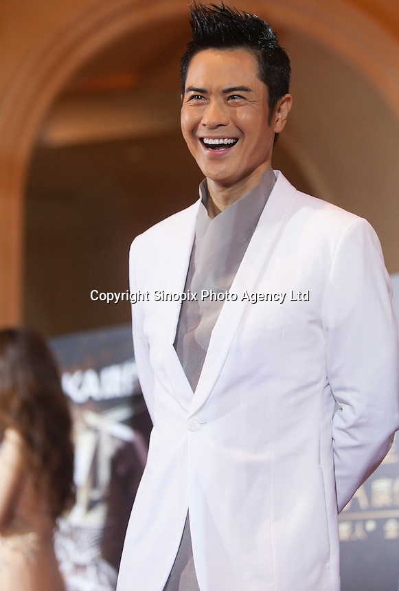 Zheng Jia Ying (Kevin Cheng) from Hong Kong, winner of the Media's Choice Award, is seen on the red carpet at the 18th Channel [V] China Music Awards and Asian Influential Power Grand Ceremony at the Venetian Macau Casino in Macau, China, 23 April 2014