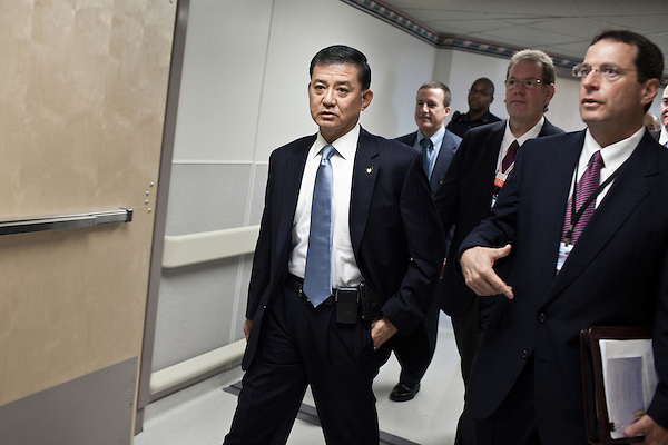 October 23, 2009. Durham, North Carolina.. Eric Shinseki, Secretary of Veterans Affairs for the Obama administration, visited Durham to meet with officials and veterans at the VA hospital, as well as to attend several events and meetings on the Duke University campus.. Sec. Shinseki, left,  took a tour of the VA hospital to meet patients and meet with staff.  Ralph T. Gigliotti, the director of the hospital is at his right.