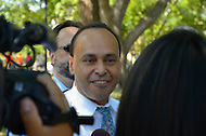 "July 26, 2011 (Washington, DC)  Congressman Luis Gutierrez (D-Ill) and 10 other people were arrested in front of the White House in Washington, protesting the lack of immigration reform in the United States.  According to CASA de Maryland, which co-sponsored the protest, more than one million deportations have occurred since President Obama took office. Gutierrez says that Republicans are blocking immigration reform, but ""it doesn't get [Obama] off the hook"".    (Photo: Don Baxter/Media Images International)"
