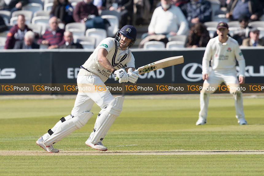 David Malan of Middlesex CCC clips of his legs for runs during Middlesex CCC vs Lancashire CCC, Specsavers County Championship Division 2 Cricket at Lord's Cricket Ground on 11th April 2019