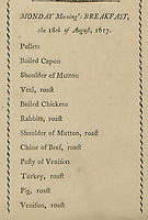 BNPS.co.uk (01202 558833)<br /> Pic: DominicWinter/BNPS<br /> <br /> The Monday breakfast menu included mutton, boiled chickens and roasted rabbits<br /> <br /> The menu for the lavish banquet where the King supposedly knighted his beef joint 'sirloin' giving rise to its name has emerged for sale.<br /> <br /> It lists the 129 dishes which were laid on for James I and his royal party during their brief stay at the Lancashire mansion of Sir Henry Hoghton in 1617.<br /> <br /> Included in the dinner offering was a loin of beef which legend states so delighted the monarch he pulled out his sword to bestow the honour upon it, theatrically declaring 'Loin, we dub thee knight henceforward be Sir Loin!'<br /> <br /> Hoghton spared no expense in providing a feast fit for royalty, with 14 members of staff preparing three giant meals. The menu would make grim reading for vegans as dishes included mutton, chicken, veal, turkey, rabbit, pig, pheasant, duck, deer, wild boar, quail and heron.<br /> <br /> The menu is being sold with auctioneer Dominic Winter, of Cirencester, Gloucs, who expect it to fetch £800.