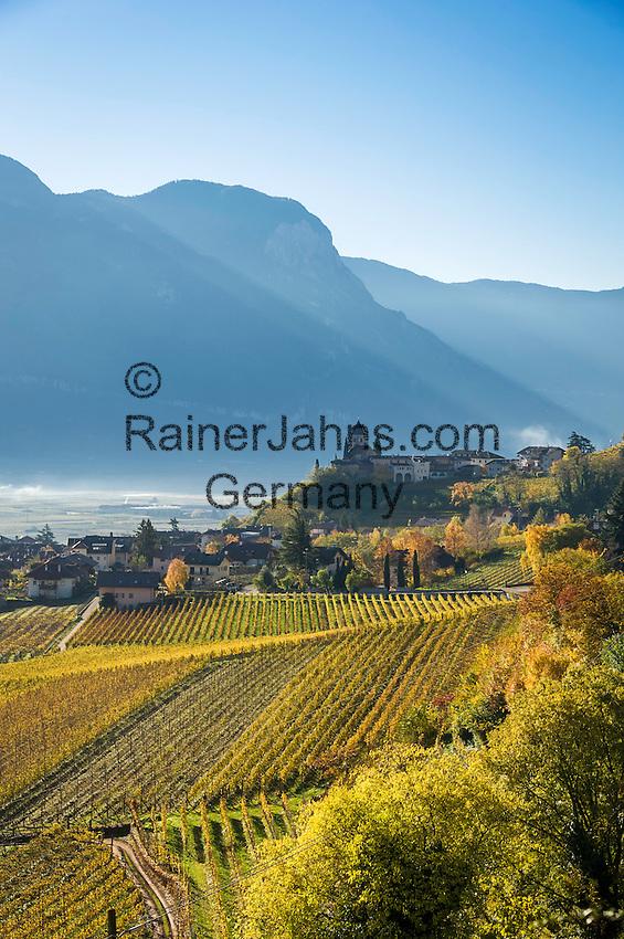 Italy, Alto Adige - Trentino (South Tyrol), Termeno sulla strada del vino: famous wine growing region, country of the Gewuerztraminer | Italien, Suedtirol, suedlich von Bozen, Tramin an der Weinstrasse: beruehmte Weinbauregion, Land des Gewuerztraminers