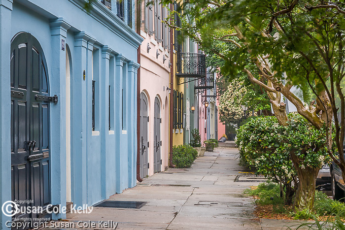 Rainbow Row (83-107 East Bay St) in downtown Charleston, SC, a National Historic Landmark district.