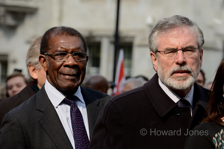 Sir Bill Morris and Gerry Adams pay their last respects to the veteran Labour member of parliament who died on 14th March 2014 at the age of 88.<br /> <br /> The funeral was held at St Margaret&rsquo;s Church, Westminster.