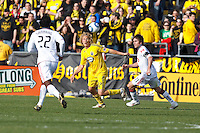 27 MARCH 2010:  Amadou Sanyang of Toronto FC (22), Steven Lenhart of the Columbus Crew (32) and Jim Brennan of Toronto FC (11) during the Toronto FC at Columbus Crew MLS game in Columbus, Ohio on March 27, 2010.