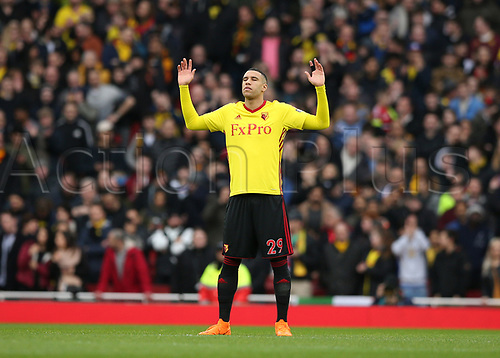 11th March 2018, Emirates Stadium, London, England; EPL Premier League Football, Arsenal versus Watford; Etienne Capoue of Watford praying before kick off