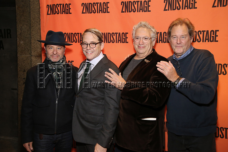 Fisher Stevens, Matthew Broderick, Harvey Fierstein and Brian Kerwin attend the Off-Broadway Opening Night performance of the Second Stage Production on 'Torch Song'  on October 19, 2017 at Tony Kiser Theater in New York City.
