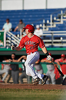 Batavia Muckdogs catcher J.D. Osborne (23) hits a single during a game against the Williamsport Crosscutters on June 21, 2018 at Dwyer Stadium in Batavia, New York.  Batavia defeated Williamsport 6-5.  (Mike Janes/Four Seam Images)
