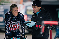 US national champion COMPTON Katie (USA/KFC Racing p/b Trek/Panache) checking videofootage of the U23 race as she is warming up to race herself<br /> <br /> Brussels Universities Cyclocross (BEL) 2019<br /> Women's Race<br /> DVV Trofee<br /> &copy;kramon