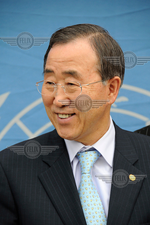 Secretary General of the United Nations (UN) Ban Ki-moon on a visit to Goma.