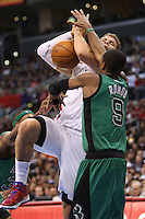 12/27/12 Los Angeles, CA: Los Angeles Clippers power forward Blake Griffin #32 and Boston Celtics point guard Rajon Rondo #9 during an NBA game between the Los Angeles Clippers and the Boston Celtics played at Staples Center. The Clippers defeated the Celtics 106-77 for their 15th straight win.