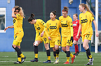 20200329 – BRUGGE, BELGIUM : Standard's players pictured celebrating the goal from Standard's Lola Wajnblum (11) during a women soccer game between Dames Club Brugge and Standard Femina de Liege on the 17 th matchday of the Belgian Superleague season 2019-2020 , the Belgian women's football  top division , saturday 29 th February 2020 at the Jan Breydelstadium – terrain 4  in Brugge  , Belgium  .  PHOTO SPORTPIX.BE | DAVID CATRY