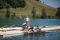 """Lucerne, SWITZERLAND, 12th July 2018, Thursday Swiss Rowing, Head Coach, Robin DOWELL, push's the SUI LW2X, """"Lightweight Women's Double Scull"""",  away from the pontoon,  FISA World Cup III, Lake Rotsee, © Peter SPURRIER,"""