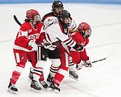 Sarah Steele (BU - 4), McKenna Brand (NU - 7), Savannah Newton (BU - 28) - The Northeastern University Huskies defeated the Boston University Terriers 2-1 in their Hockey East semi-final on Saturday, March 4, 2017, at Walter Brown Arena in Boston, Massachusetts.