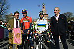 RCS MediaGroup President and CEO Urbano Cairo, last year's winner Vincenzo Nibali (ITA) Bahrain-Merida, World Champion Alejandro Valverde (ESP) Movistar Team and La Gazzetta dello Sport Editor in Chief Andrea Monti before the start of the 110th edition of Milan-San Remo 2019 running 291km from Milan to San Remo, Italy. 23rd March 2019.<br /> Picture: LaPresse/Gian Matteo D'Alberto | Cyclefile<br /> <br /> <br /> All photos usage must carry mandatory copyright credit (© Cyclefile | LaPresse/Gian Matteo D'Alberto)