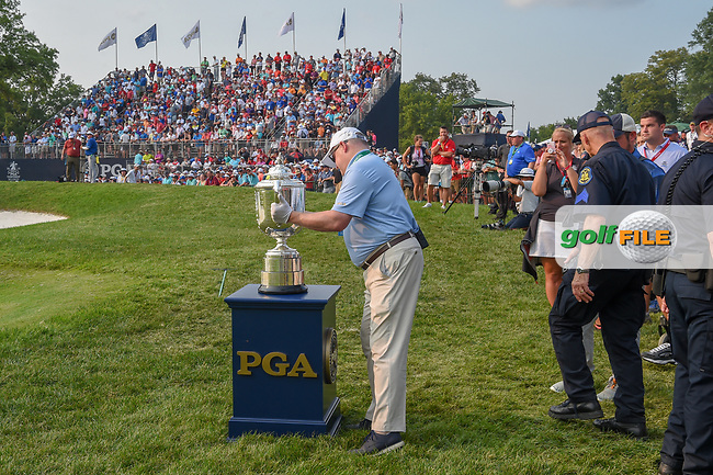 The Wannamaker Trophy is positioned near the green on 18 during 4th round of the 100th PGA Championship at Bellerive Country Club, St. Louis, Missouri. 8/12/2018.<br /> Picture: Golffile | Ken Murray<br /> <br /> All photo usage must carry mandatory copyright credit (© Golffile | Ken Murray)