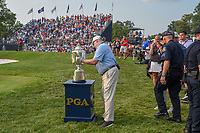 The Wannamaker Trophy is positioned near the green on 18 during 4th round of the 100th PGA Championship at Bellerive Country Club, St. Louis, Missouri. 8/12/2018.<br /> Picture: Golffile | Ken Murray<br /> <br /> All photo usage must carry mandatory copyright credit (&copy; Golffile | Ken Murray)
