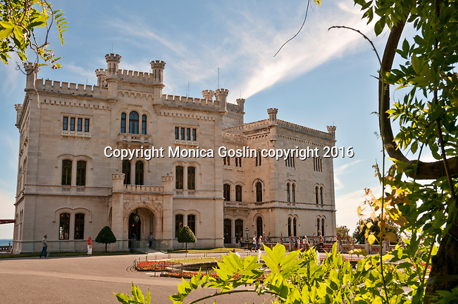 Castello di Miramare, built from 1856 to 1860 for Austrian Archduke Maximilian; Trieste, Italy