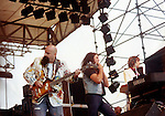 GILLAN AT MONSTERS OF ROCK FESTIVAL Gillan Castle Donnington Monsters of Rock 1982. John McCoy, Ian Gillan, Colin Towns Donnington 1982