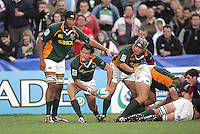 South African centre Francois Hougaard gets the ball away during the Division A U19 World Championship clash against France at Ravenhill.