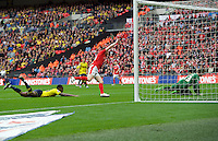 Sam Winnall of Barnsley celebrates after scoring the equaliser with a header past goalkeeper Benjamin Buchel of Oxford United to make it 1-1 during the Johnstone's Paint Trophy Final match between Oxford United and Barnsley at Wembley Stadium, London, England on 3 April 2016. Photo by Alan  Stanford / PRiME Media Images.