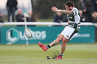 Aaron Penberthy of Ealing Trailfinders kicks during the Greene King IPA Championship match between Ealing Trailfinders and London Welsh RFC at Castle Bar , West Ealing , England  on 26 November 2016. Photo by David Horn / PRiME Media Images