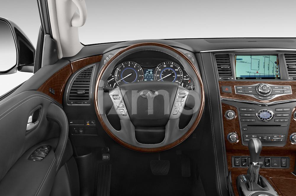 Car pictures of steering wheel view of a 2017 Infiniti QX80 3.5 5 Door SUV Steering Wheel