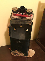 *Black donation box (old mail box) with gold knob and with hair ties from inside grocery 10 in tall by 5in wide<br /> <br /> THIS IS PART OF OUR COLLECTION OF MARGARET'S GROCERY AND REV. H.D. DENNIS - ART WORKS in Mississippi Folk Art Foundations Collection <br /> <br /> Ms. Altman is the Founder and Director of the Mississippi Folk Art Foundation a non profit, that is dedicated to preserving Margaret's Grocery. A visionary outdoor folk environment in Vicksburg Mississippi.<br />  to see some of the collection documented by William Arnett in his book Souls Grown Deep volume 2 please see see link below.<br /> <br /> http://www.soulsgrowndeep.org/artist/rev-harmon-d-dennis<br /> <br /> <br /> https://www.gofundme.com/SaveMargaretsGrocery?lang=en-US