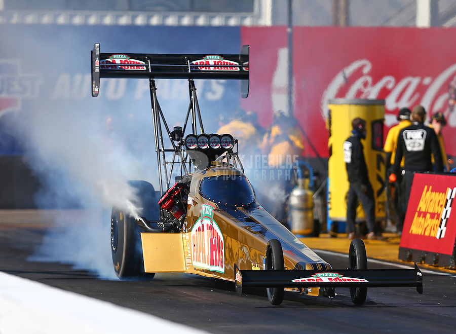 Feb 24, 2017; Chandler, AZ, USA; NHRA top fuel driver Leah Pritchett during qualifying for the Arizona Nationals at Wild Horse Pass Motorsports Park. Mandatory Credit: Mark J. Rebilas-USA TODAY Sports