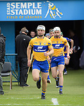 Patrick O'Connor of Clare leads out his team for their Munster Championship semi-final against Limerick at Thurles.  Photograph by John Kelly.